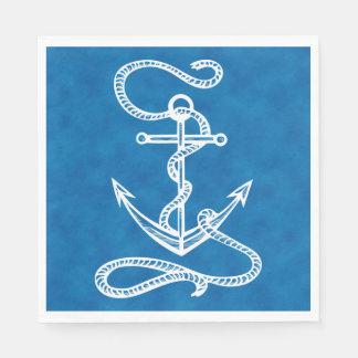 Nautical Ship Anchor Blue Watercolor Wedding Disposable Napkin