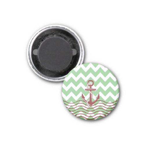 Nautical Ship Anchor Mint Chevron Pattern Fridge Magnets
