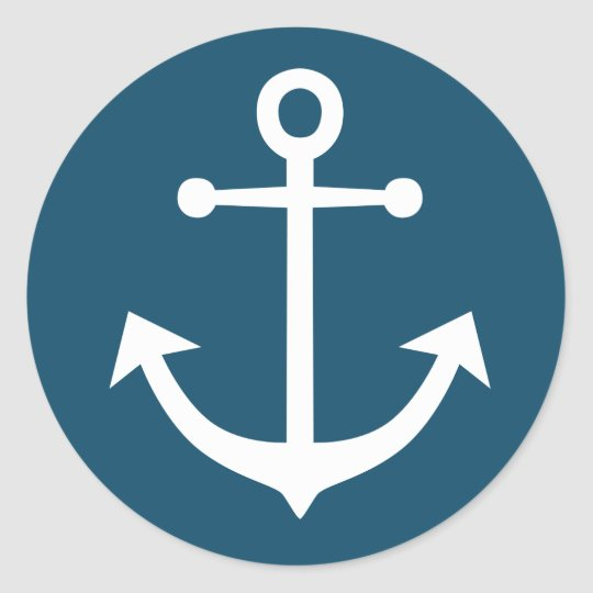 Nautical Ship Anchor Navy Blue And White Classic