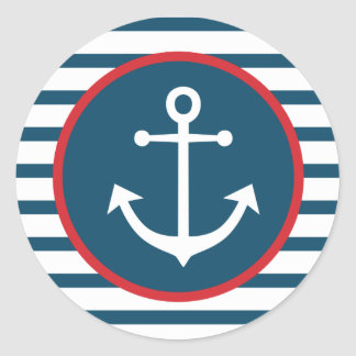 Nautical Ship Anchor Navy Blue And White Stripes Round Sticker