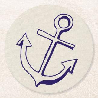 Nautical Ship Anchor Navy Blue Tan Wedding Party Round Paper Coaster