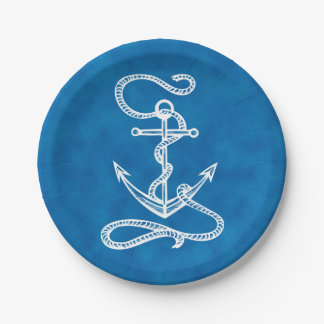 Nautical Ship Anchor Navy Blue Watercolor Wedding 7 Inch Paper Plate