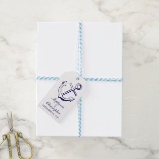 Nautical Ship Anchor Navy Blue Wedding Party Gift Tags