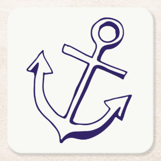 Nautical Ship Anchor Navy Blue Wedding Party Square Paper Coaster
