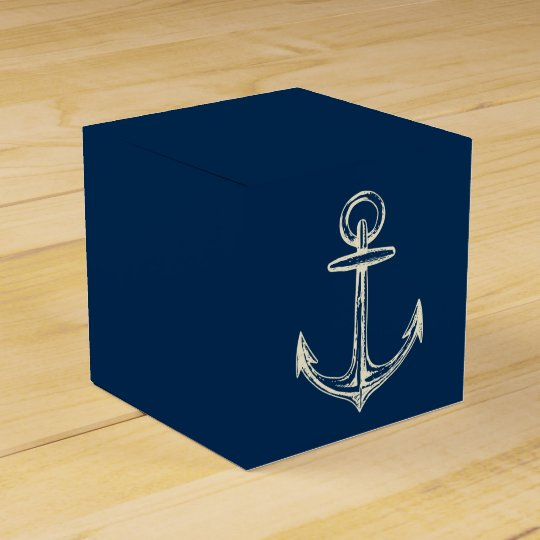 Nautical Ship Anchor Navy Blue & White Vintage