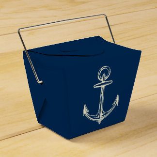 Nautical Ship Anchor Navy Blue & White Vintage Wedding Favour Boxes