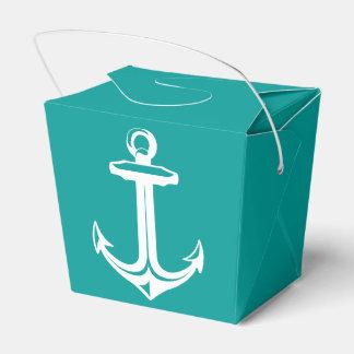 Nautical Ship Anchor Teal Beach Wedding Party Favour Box