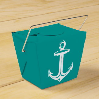 Nautical Ship Anchor Teal Beach Wedding Party Party Favour Box