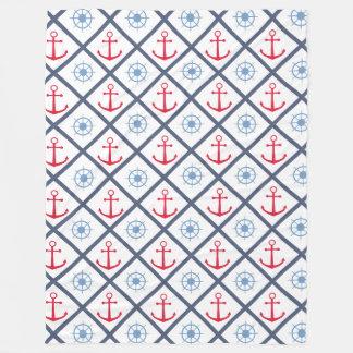 Nautical Ship Anchor & Wheel Navy Blue Red Sailor Fleece Blanket