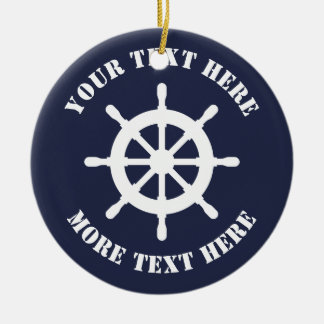 Nautical ship helm Christmas ornament for sailor