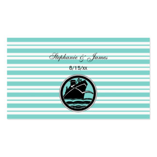 Nautical Ship Lt Blue White Stripe#2 Escort Cards Pack Of Standard Business Cards