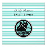 Nautical Ship Lt Blue White Stripe #2 SQ Sweet 16 13 Cm X 13 Cm Square Invitation Card