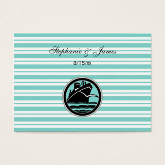 Nautical Ship Lt Blue White Stripe Escort Cards #2