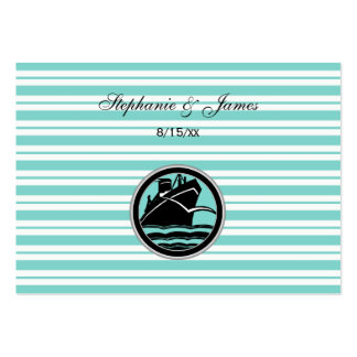 Nautical Ship Lt Blue White Stripe Escort Cards #2 Pack Of Chubby Business Cards