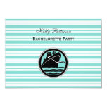 Nautical Ship Lt Blue White Stripe  H Bachelorette 13 Cm X 18 Cm Invitation Card