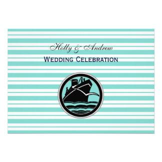 Nautical Ship Lt Blue White Stripe H Wedding Custom Announcements