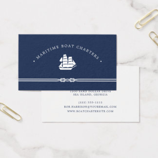 Nautical Ship | Navy and White | Boat Charter Business Card