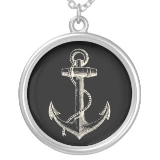 Nautical ship pendant necklace anchor black cream