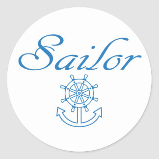Nautical ship wheel and anchor classic round sticker