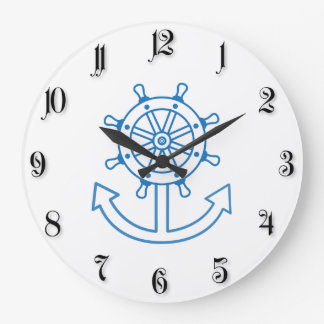 Nautical ship wheel and anchor wallclock