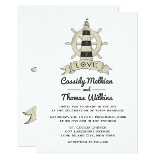 Nautical Ship Wheel Lighthouse Tan Wedding Card