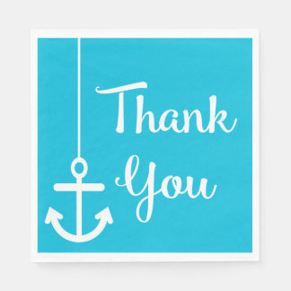 Nautical Ship Wheel Love Watercolor Blue Turquoise Paper Serviettes