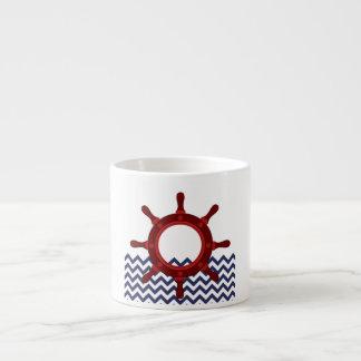 Nautical Ship Wheel on Chevron Waves Espresso Mug
