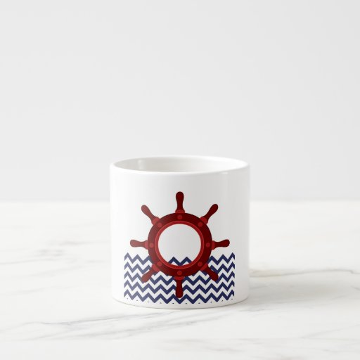 Nautical Ship Wheel on Chevron Waves Espresso Mugs