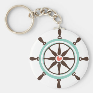 Nautical Ship Wheel with Pink Heart Keychains