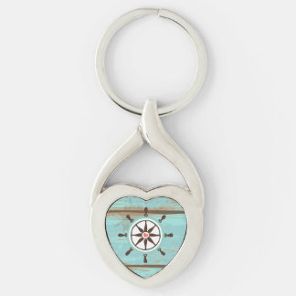 Nautical Ship Wheel with Wood Background Key Chains