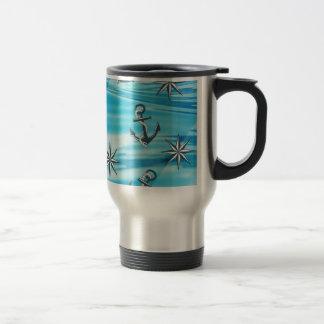 Nautical Ships Anchor Compass Sailing Theme Mug
