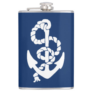 Nautical Ships Anchor in White on Blue Hip Flask