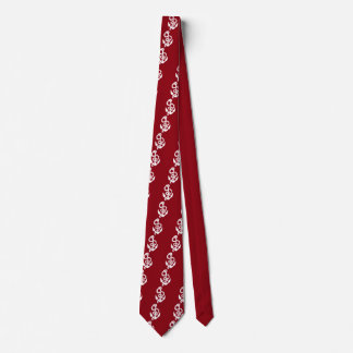 Nautical Ships Anchor in White on Burgundy Tie