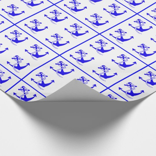 Nautical Ships Anchors Patterned Wrapping Paper
