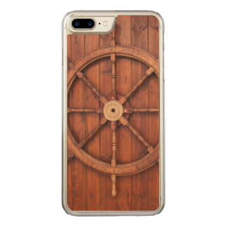 Nautical Ships Helm Wheel on Wooden Wall Carved iPhone 8 Plus/7 Plus Case