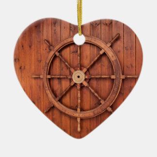 Nautical Ships Helm Wheel on Wooden Wall Christmas Ornament