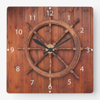 Nautical Ships Helm Wheel on Wooden Wall Clock