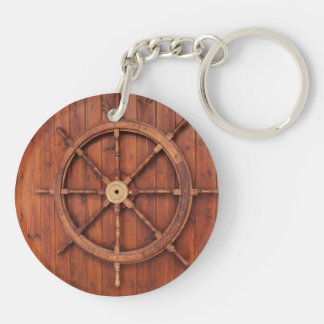 Nautical Ships Helm Wheel on Wooden Wall Double-Sided Round Acrylic Key Ring
