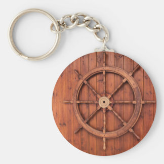Nautical Ships Helm Wheel on Wooden Wall Basic Round Button Keychain