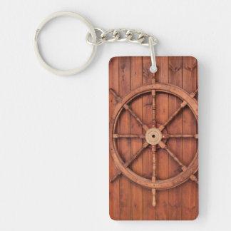 Nautical Ships Helm Wheel on Wooden Wall Single-Sided Rectangular Acrylic Keychain