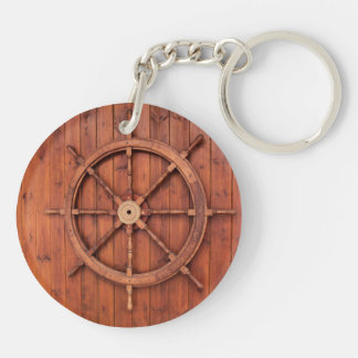 Nautical Ships Helm Wheel on Wooden Wall Double-Sided Round Acrylic Keychain