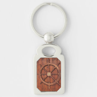 Nautical Ships Helm Wheel on Wooden Wall Silver-Colored Rectangle Key Ring