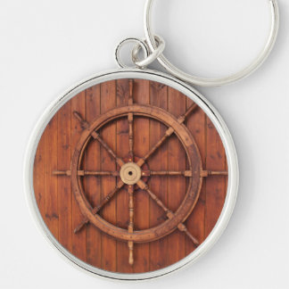 Nautical Ships Helm Wheel on Wooden Wall Silver-Colored Round Key Ring