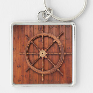 Nautical Ships Helm Wheel on Wooden Wall Silver-Colored Square Key Ring