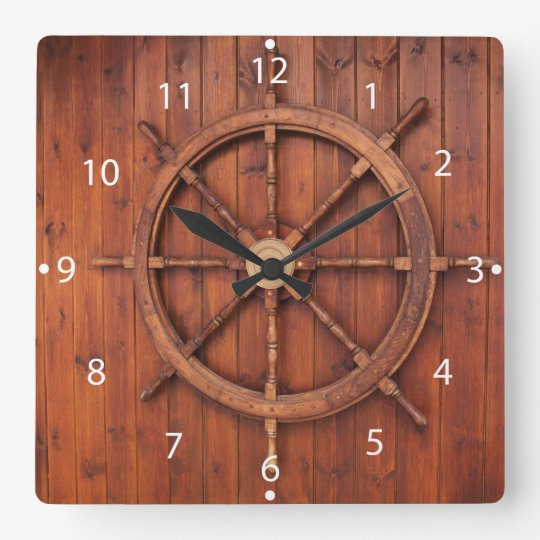Art Décor: Nautical Ships Helm Wheel On Wooden Wall Square Wall Clock