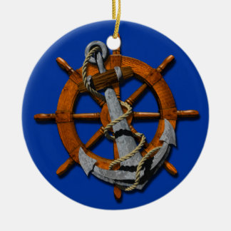 Nautical Ships Wheel And Anchor Christmas Ornament