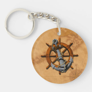 Nautical Ships Wheel And Anchor Double-Sided Round Acrylic Key Ring