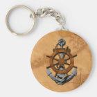 Nautical Ships Wheel And Anchor Key Ring