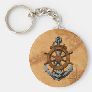 Nautical Ships Wheel And Anchor Key Ring