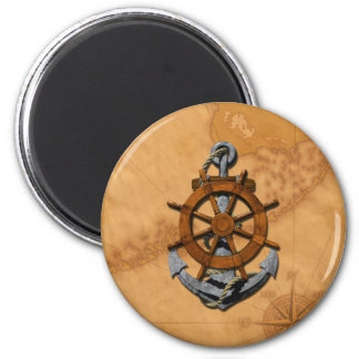 Nautical Ships Wheel And Anchor Magnet